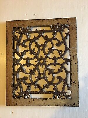 Vtg Antique Ornate Heat Register Cast Iron Wall Floor Grate Vent chippy