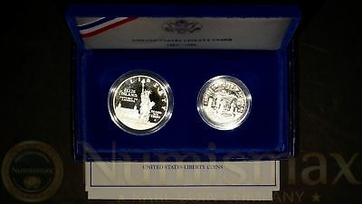 1986 Statue of Liberty Commemorative Proof 2-Coin Silver Dollar and Half