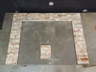 Vintage Crackled Tile Set for Victorian Fireplace Mantle -35Tall x 45W Alabaster