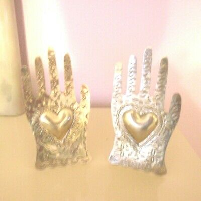 Lot of 2- Loving Hands Stainless Steel  Art Home Decor Stand  Hands with Hearts