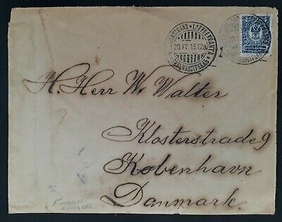 RARE 1916 Finland (Russian Occ) Cover ties 10K stamp canc Lappenranta to Denmark