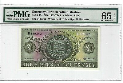 P-45a 1969-75 1 Pound, Guernsey/ British Administration, PMG 65EPQ Very Nice!