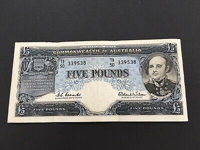 Australia 5 pounds  Coombs/Wilson 1961, nice banknote, VF