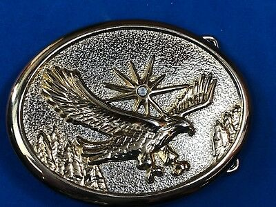 Vintage belt buckle - silver and gold tone flying eagle - rhinestone star