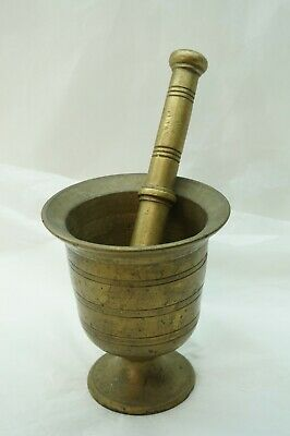 ANTIQUE BRASS MORTAR AND PESTLE HEAVY THICK 5+ LBS APOTHECARY MEDICINE 1800s