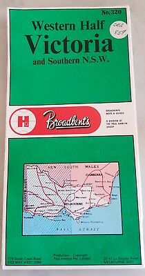 Broadbent's Western Half Victoria and Southern NSW Map Mileage Vintage No. 320