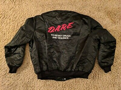 Vintage 90s DARE Spellout Embroidered Satin Bomber Jacket Made in USA XL