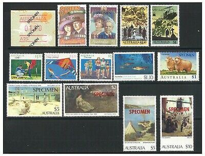 Australia Decimal Specimen 14 Different Stamps All Unhinged