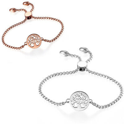Women's Stainless Steel Freely Adjustable Charm Hollow Tree Bracelet Chain NEW