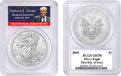 2019 $1 American Silver Eagle PCGS MS70 FDOI TRUMP LABEL First Day of Issue