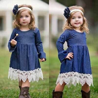 Toddler Kids Baby Girls Long Sleeve Pageant Party Princess Denim Dress Sundress