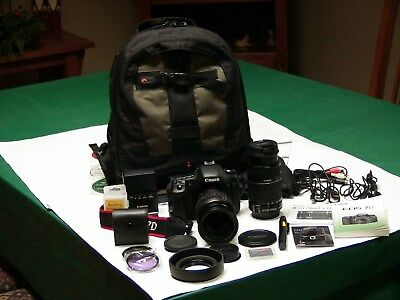 CANON EOS 7D 18.0MP Digital SLR Camera BUNDLE w/2 LENSES MANY EXTRAS-USED ONCE