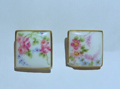 c1870 LOT 2 MARKED*ELITE LIMOGES PORCELAIN /CHINA HAND PAINTED SQUARE BUTTONS~