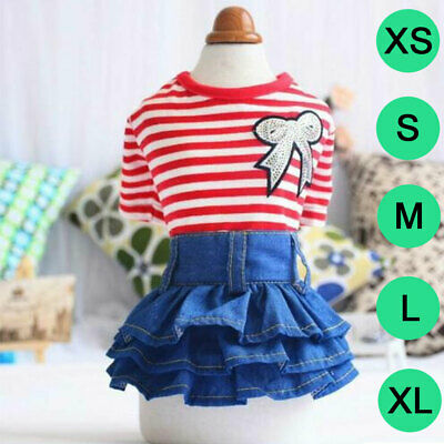 Stylish Pet Dress Puppy Dog Cat Denim Skirt Princess Dress Spring Summer Clothes