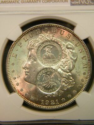1921 US Morgan Silver Dollar With Rare Double Gallery Mint GMM Counterstamp NGC