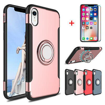 For iPhone X /XS Max /XR Hybrid Ring Stand Holder Case Cover + Screen Protector