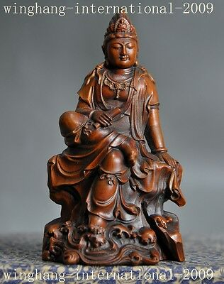 Chinese Old Boxwood wood hand carved freedom Kwan-Yin GuanYin Bodhisattva statue