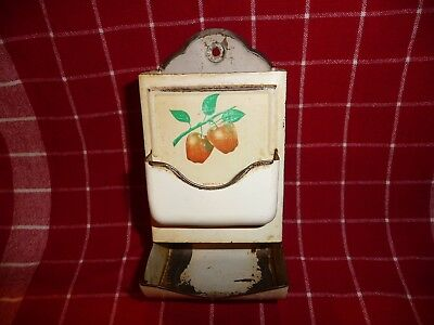 Decorative Vintage Metal Wall Mount Match Holder Safe w Apples~ Made in U.S.A.