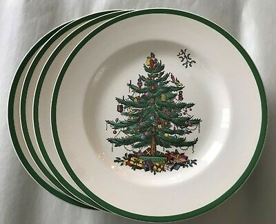 """Set of 4 ~ Spode """"Christmas Tree"""" 10-3/4"""" Dinner Plates ~ Made in England ~ Mint"""