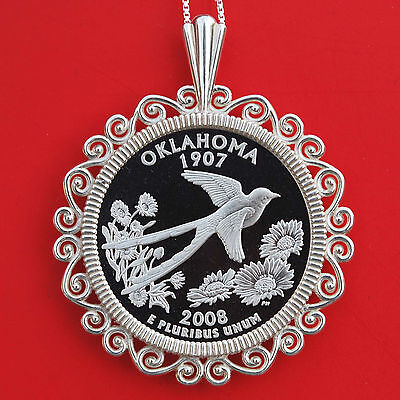 2008 Oklahoma State Quarter 90% Silver Proof Coin 925 Sterling Silver Necklace