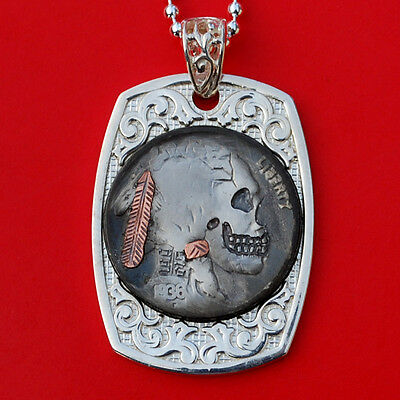 1936 Indian Head Hobo Nickel Skull Face Zombie Sterling Silver Dog Tag Necklace