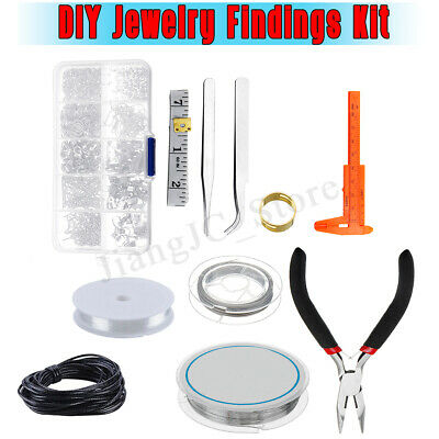 Handmade DIY Jewelry Repair Tools Pliers Brass Ring Beading Wires Full Set