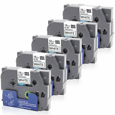 """5PK TZe-241  Label Tapes P-touch Compatible Brother 18mm 0.75"""" Laminated PT-H300"""