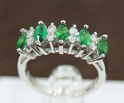 Charming Natural Emerald 3.51Ct 14K Solid White Gold Women Diamond Rings 7.0#