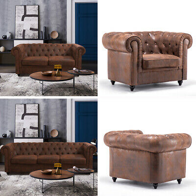 Leather Chesterfield Sofa Armchair 3 2 1 Seater Distressed Retro Brown Effect UK