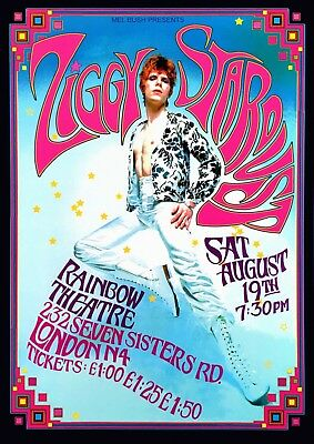 Reproduction David Bowie Rainbow Theatre Poster, Home Wall Art, Vintage Print