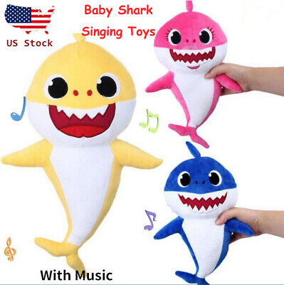 Baby Cartoon Plush Shark Singing English Song Toy Music Doll Musical Toy Gift