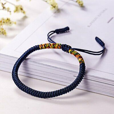 Women Men Tibetan Buddhist Love Lucky Bracelets Handmade Knot Rope Bangles Blue