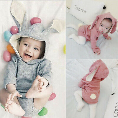 306c1a38f8e8 Cute Bunny Infant Kid Baby Girl Boy Hooded Romper Outfit Bodysuit Clothes  Easter