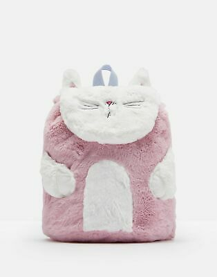 Joules Girls Fuzzy Fluffy Character Bag ONE in PINK CREAM CAT in One Size