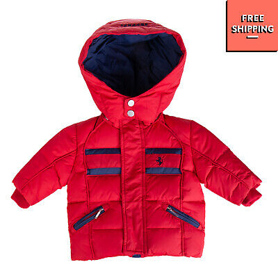 FERRARI Down Quilted Jacket Size 0-3M Detachable Hood Double Cuffs