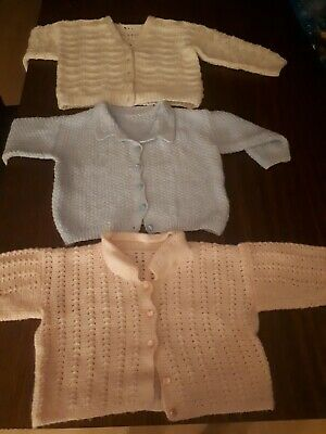 Hand knitted baby cardigans X 3 Beautiful, Made By Italian Nona - 100%Aus Wool