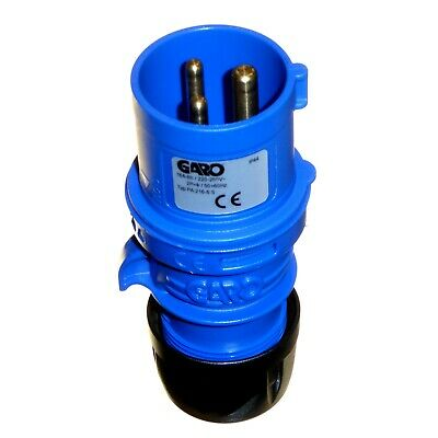 16A 3 Pin Plug 230v IP44 Blue 1 Phase 2P+E CEE Caravan Mains Trailer Garo 16 Amp