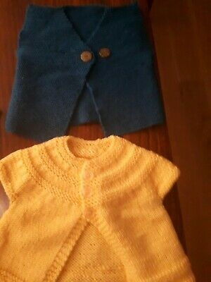 Hand knitted baby cardigans X 2.Beautiful, Made By Italian Nona - 100%Aus Wool