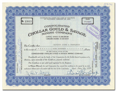 Consolidated Chollar Gould & Savage Mining Company Stock Certificate