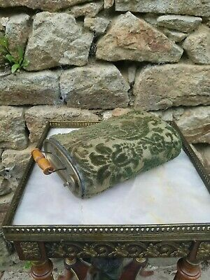 Antique French Metal & Brass Bed Warmer / Hot Water Bottle & Stopper