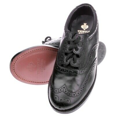 New Boys Scottish Made Black Leather Soled Ghillie Brogues by Thistle Shoes