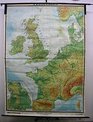Schulwandkarte Beautiful Old Western Europe England France 169x234cm Vintage