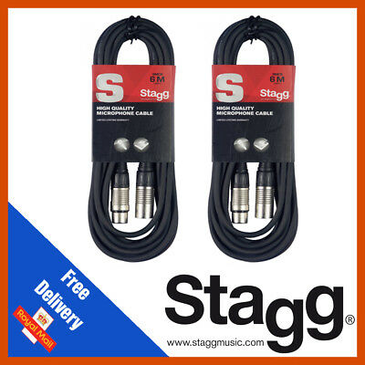 Stagg 2 x 3M Black XLR Male to Female Microphone Lead & Audio Signal Cable Pack