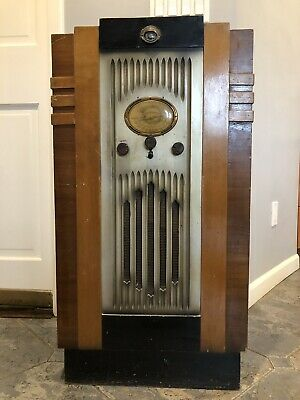 Antique Vintage Art Deco Tall Big Wood Radio