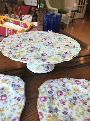 Vintage J. Godinger Cake Stand and two Godinger chintz plates for Valentine Cake