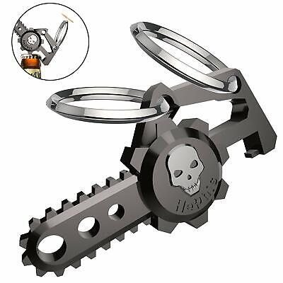 Hephis Chainsaw Skull Car Keychain with Dual Rings for Men,Women,Bottle Opener(G