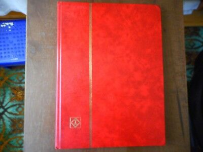 used red stockbook for stamps 16 double sided pages  9 x 12  x 1 inches used