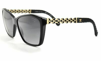 796383ecd081a CHANEL Sunglasses 5327Q 501 S8 Black Leather  Cooper Chain  Gray Polarized