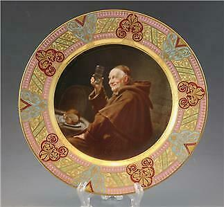 19C Royal Vienna Porcelain Cabinet Plate of a Merry Monk Drinking Gold Enamel