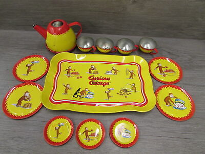 Vintage Curious George Schylling Tin Tea Set HMCo Red Yellow Curious Monkey